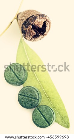 Traditional medicine: Green Eucalyptus branch and pills , close up - stock photo