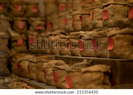 Traditional medicine, store of medicinal herbs - stock photo