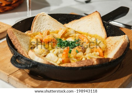 traditional Mediterranean cuisine - seafood saute - stock photo