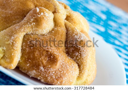 """Traditional Mexican Bread of the Dead """"Pan de Muerto"""" - stock photo"""