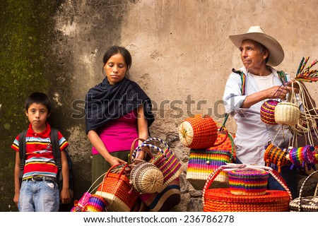 Traditional mexican crafts vendors at taxco guerrero. - stock photo