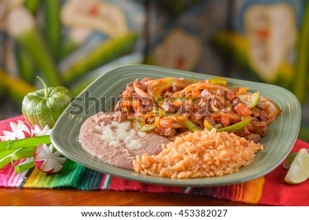 Traditional Mexican food plate with copy space