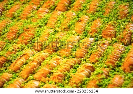 Traditional Middle Eastern dessert baklava - stock photo