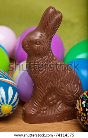 Traditional milk chocolate Easter bunny rabbit on a table. - stock photo