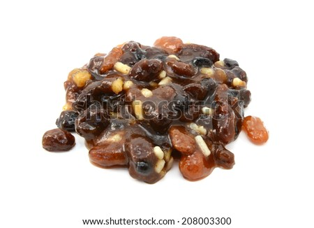 Traditional mincemeat made with currants, raisins, sultanas, citrus peel and suet, isolated on a white background - stock photo