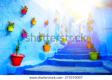 Traditional moroccan architectural details in Chefchaouen, Moroc