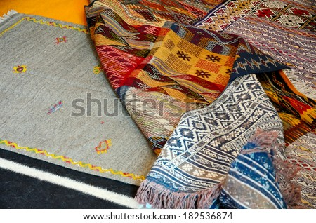 Traditional moroccan carpet in a berber store in Marrakesh, Morocco - stock photo