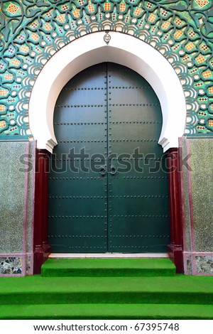 Traditional moroccan door in Tangier, Africa - stock photo