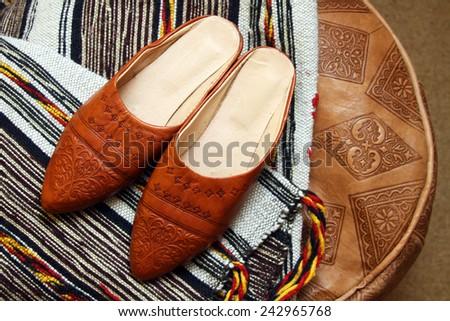 Traditional moroccan shoes - stock photo