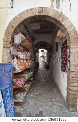 Traditional moroccan shop in Essaouira, Morocco - stock photo