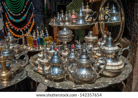 traditional moroccan teapots - stock photo