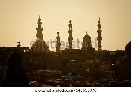 traditional mosque in the urban district of Cairo city - stock photo