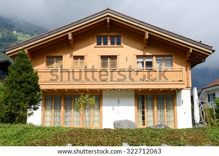 Traditional mountain chalet at Engelberg on the Swiss alps