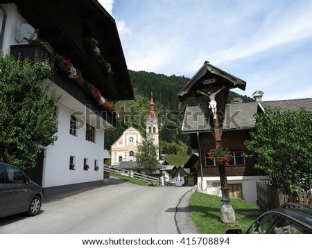 Traditional mountain village, Alps (Alpen), Austria - stock photo
