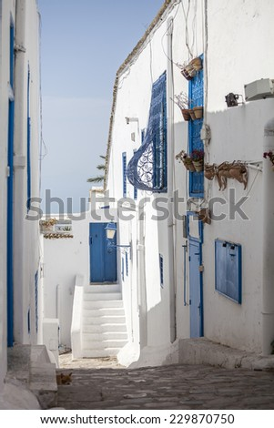 Traditional Narrow street of Sidi Bou Said with buildings with Blue doors and white walls, Tunisia - stock photo