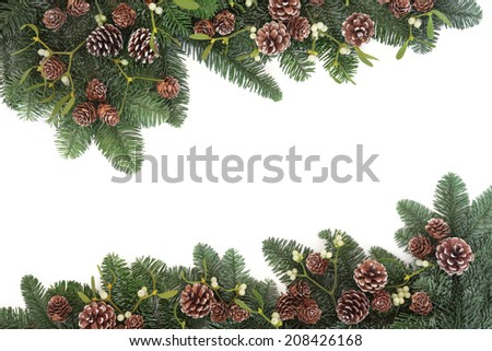 Traditional natural christmas background border with mistletoe, spruce fir and pine cones over white with copy space. - stock photo