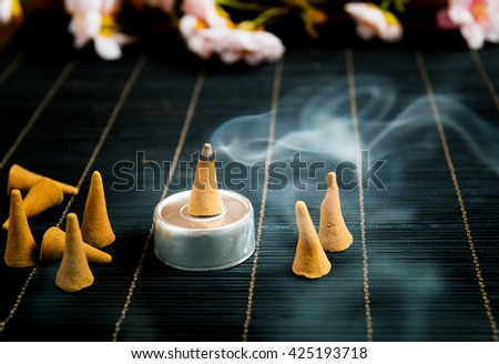 Traditional natural incense cones  - stock photo