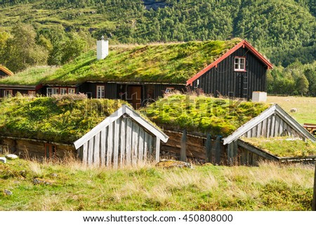 Traditional Norwegian house with grass roof, Innerdalen, Norway - stock photo
