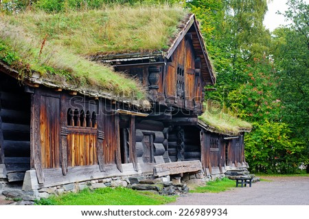 Traditional Norwegian House with grass roof. The Norwegian Museum of Cultural History, Oslo. - stock photo