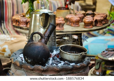 traditional nubian coffee making - stock photo