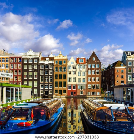 Traditional old buildings in downtown Amsterdam, The Netherlands