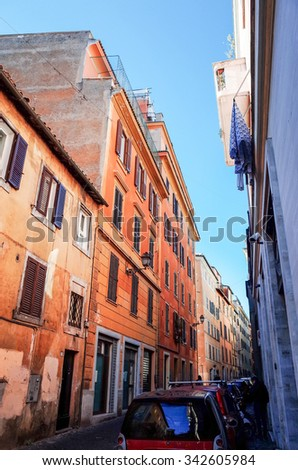 Traditional old buildings Street view in Rome, ITALY
