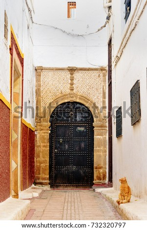 Traditional old door in historical district Medina. Rabat. Morocco