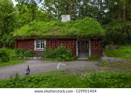Traditional old house at Skansen, the first open-air museum and zoo, located on the island Djurgarden