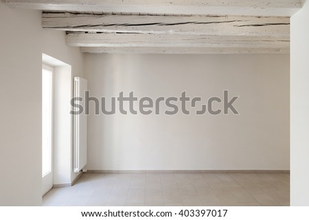 Traditional old house of central europe, empty room, interior