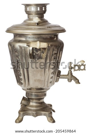 Traditional old Russian samovar on white background