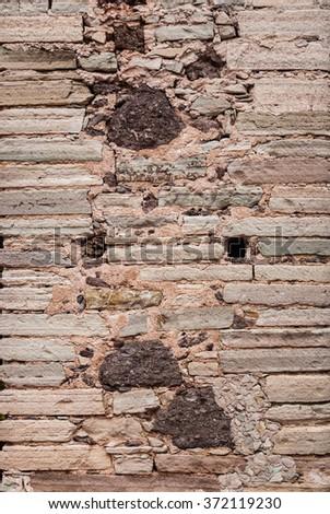 Traditional old stone wall Guanajuato Mexico - stock photo