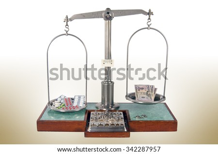 Traditional old style pharmacy scale with drugs heavier than money, small weights