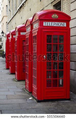 Traditional old style UK red phone boxes in Covent Garden, Londo - stock photo