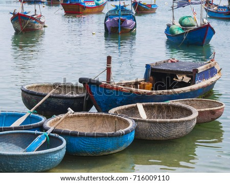 Basket boat stock images royalty free images vectors for Round fishing boat