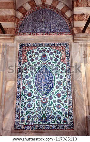 Traditional Oriental Art / Close-up photo of handmade Turkish tiles, Istanbul, Turkey - stock photo