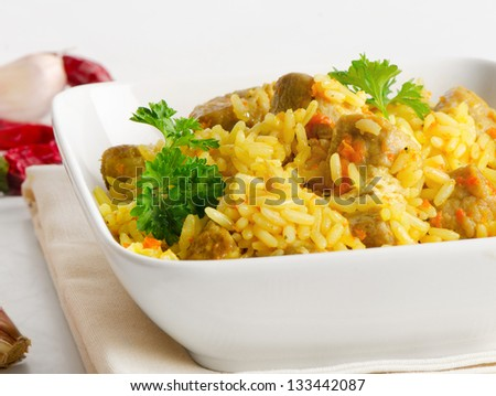 Traditional oriental pilaf. Selective focus