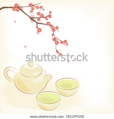 Traditional oriental teapot and cups with plum blooming tree - stock photo