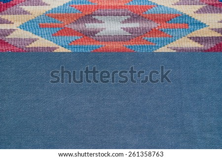 traditional ornament print on jeans textile