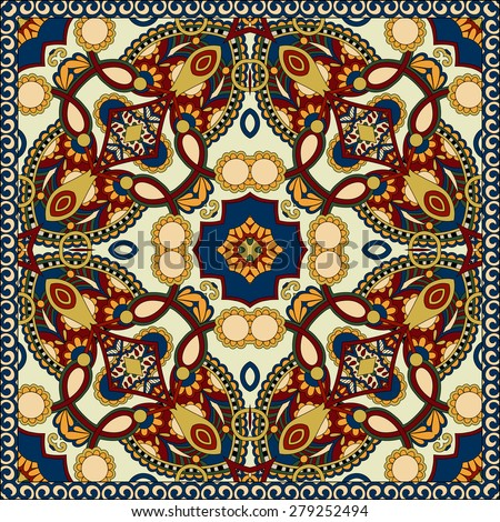 Traditional ornamental floral paisley bandanna. Square ornament. You can use this pattern in the design of carpet, shawl, pillow, cushion, beige color, raster version - stock photo