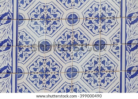 Traditional ornate portuguese decorative tiles in blue and white - stock photo