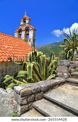 Traditional orthodox church from Mediterranean sea area, Montenegro - stock photo