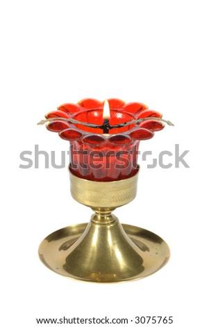 Traditional orthodox icon-lamp isolated on white background - stock photo