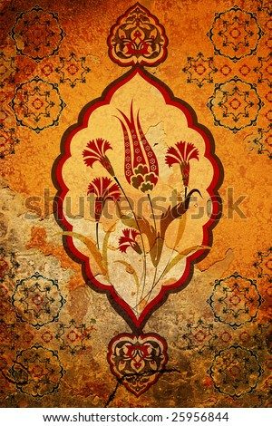 Traditional ottoman turkish seamless tile design - stock photo