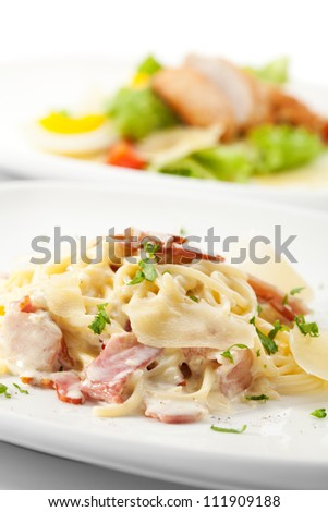 Traditional Pasta Carbonara with Greens