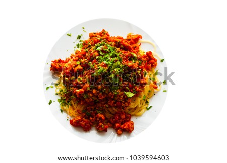Traditional pasta spaghetti bolognese isolated on white background. with copy space. top view