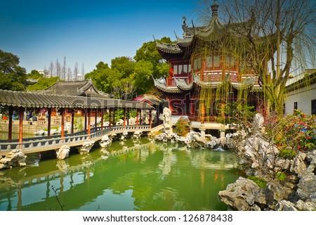 Traditional pavilions in Yuyuan Gardens, Shanghai, China - stock photo