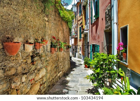 traditional pictorial streets of old italian villages. Portovenere. - stock photo