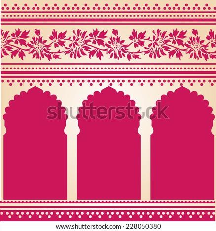 Traditional pink Indian saree temple design  - stock photo