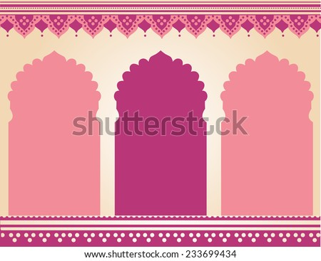 Traditional pink Indian temple background  - stock photo