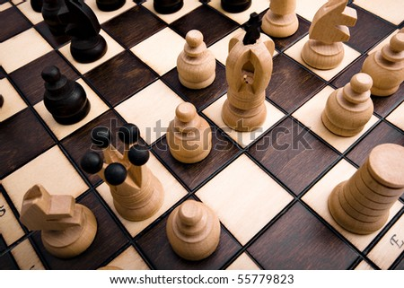 Traditional poland retro wooden chess with beautiful pieces - stock photo